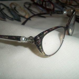Feminine Brown & Pearl Accent Reading Glasses